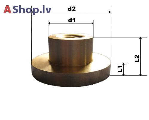 Trapec vītņstieņa uzgrieznis ar flanci 16x4 d1: 30 mm d2: 50 mm L1: 10 mm L2: 22 mm  31.00